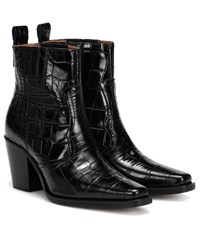 Ganni Western Embossed Leather Boots Black