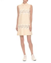 Valentino Sleeveless Lace Trim Crepe Couture Dress White