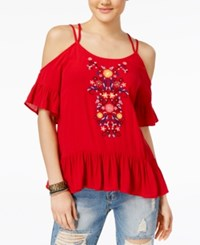 Almost Famous Juniors' Embroidered Cold Shoulder Ruffle Top Bright Red
