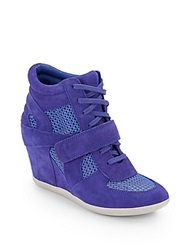 Ash Bowie Mesh Paneled Wedge Sneakers Sapphire Blue