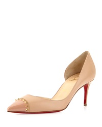 Christian Louboutin Culturella Spiked Half D'orsay Red Sole Pump Nude