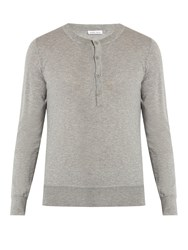 Tomas Maier Fine Knit Cashmere Henley Sweater Light Grey