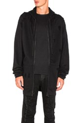 Unravel Destroyed Terry Zip Hoodie In Black