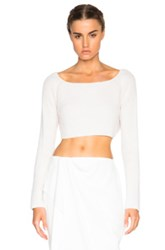 Baja East Cashmere Crop Sweater In White