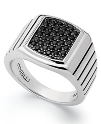 Macy's Men's Sterling Silver Ring Black Sapphire Square Ring 1 Ct. T.W.