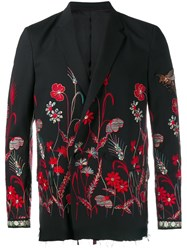 Gucci Floral Embroidered Blazer Black