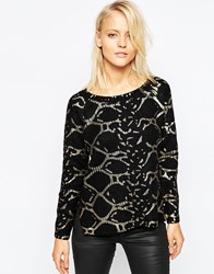 Ax Paris Metallic Print Jumper Black