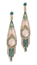 Adia Kibur Crystal Drop Earrings Green Pink