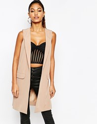 Michelle Keegan Loves Lipsy Sleeveless Longline Blazer Camel