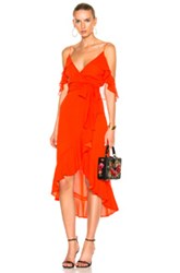 Nicholas Georgette Wrap Dress In Red