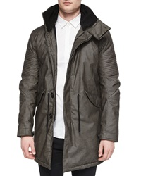 Helmut Lang Film Finish Long Parka Jacket Black