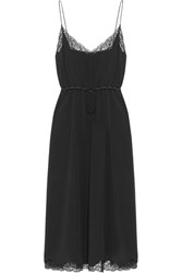 Alexander Wang Lace And Satin Trimmed Crepe Midi Dress Black