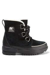 Sorel Torino Ii Faux Fur Trimmed Waterproof Suede And Rubber Ankle Boots Black