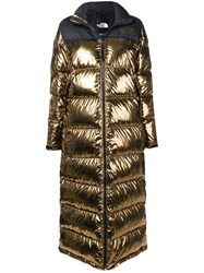 The North Face Long Metallic Puffer Coat Gold