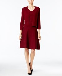 Charter Club Fit And Flare Sweater Dress With Bolero Jacket Only At Macy's Cranberry