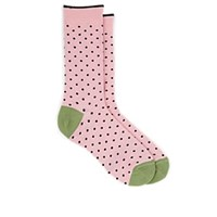 Barneys New York Polka Dot Cotton Blend Mid Calf Socks Pink