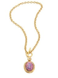 Kenneth Jay Lane Pink Opal And Crystal Toggle Pendant Necklace Gold Pink Opal