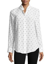 Equipment Insect Print Essential Long Sleeve Silk Shirt White White Pattern