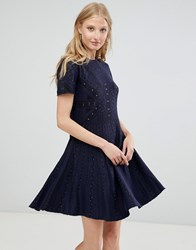 Deby Debo Alina Knit Skater Dress Navy Blue