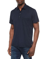 7 For All Mankind Raw Edge Short Sleeve Polo Shirt Navy