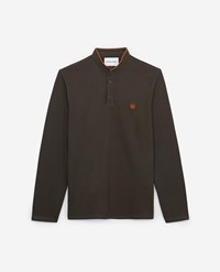 The Kooples Embroidered Khaki Polo Cotton Orange Badge