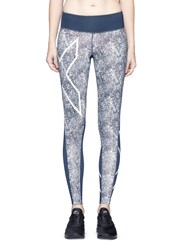 2Xu 'Pattern Mid Rise Compression' Performance Tights Blue