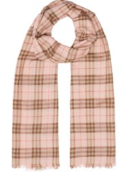 Burberry Metallic Check Wool Silk Blend Scarf Pink And Purple