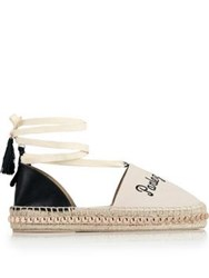 Kurt Geiger London Pierre Lace Up Embroidered Espadrille Off White