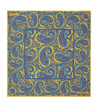 Turnbull And Asser Paisley Print Silk Pocket Square Unisex Yellow