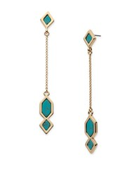 Ivanka Trump Turquoise Re Constituted Stone Linear Drop Earrings