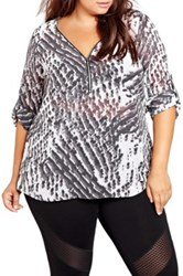 Addition Elle Love And Legend Print Zip Front High Low Tunic Plus Size Black