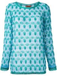 Missoni Crochet Knit Jumper Blue