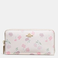 Coach Accordion Zip Wallet In Daisy Field Print Coated Canvas Light Gold Daisy Field Beechwood