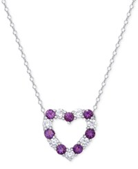 Macy's Silver Tone Two Tone Crystal Heart Necklace