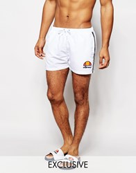 Ellesse Logo Swim Shorts Exclusive To Asos White