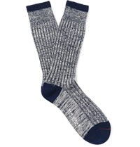 Mr. Gray Marled Stretch Cotton Blend Socks Blue