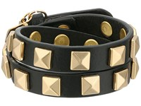 Rebecca Minkoff Double Row Leather Bracelet With Pyramid Studs Black Gold Bracelet