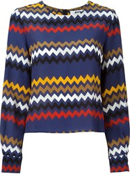 Msgm Chevron Print Blouse Blue