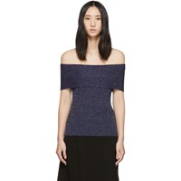 3.1 Phillip Lim Navy Lurex Off The Shoulder Pullover