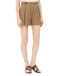 Sandro Pendy Striped Shorts Tobacco Brown