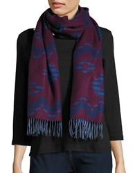 Lord And Taylor Fringed Chevron Wrap Or Scarf Red