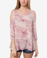 O'neill Juniors' Anderson Printed Cold Shoulder Top Rose Smoke