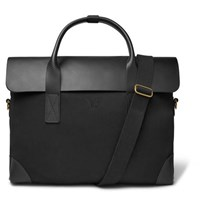 Bennett Winch Cotton Canvas And Full Grain Leather Briefcase Black