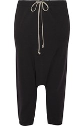 Rick Owens Cropped Wool Track Pants Black