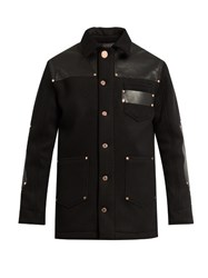 Givenchy Leather Panel Wool Blend Jacket Black
