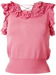Ermanno Scervino Ruffled Trim T Shirt Pink Purple