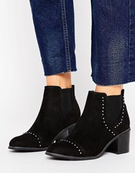 New Look Suedette Stud Detail Heeled Ankle Boot Black