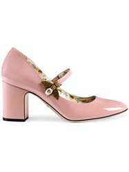 Gucci Patent Leather Mid Heel Pump With Bee Leather Patent Leather Metal Pink Purple