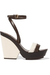 Tory Burch Woven And Lizard Effect Leather Wedge Sandals Ecru