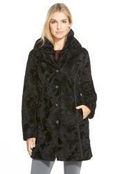 Laundry By Shelli Segal Reversible Faux Persian Lamb Fur Coat Black